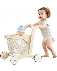 labebe Push Walker Stroller Baby Walker, Push Toy for Toddler, Pull Wagon for Kid, 2-in-1 Activity Push Walker for Infant/Child, sit to Stand Learning Walker, Wooden Play Wagon 4 Wheel, Doll pus
